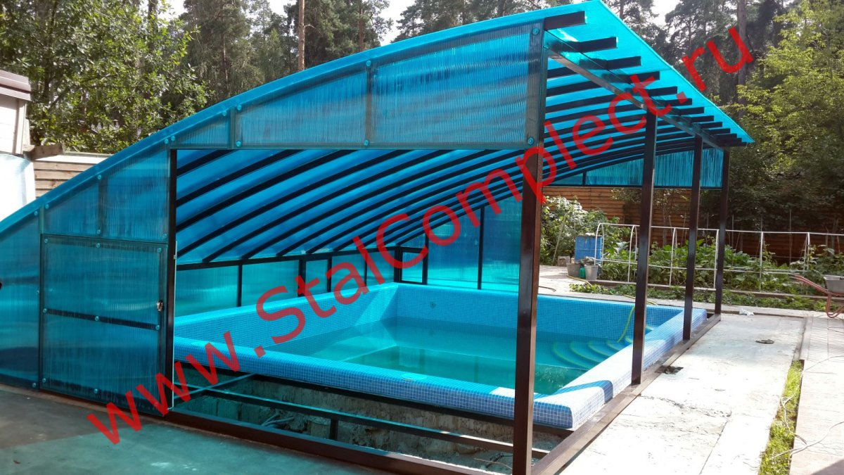 Крыша над бассейном из поликарбоната своими руками