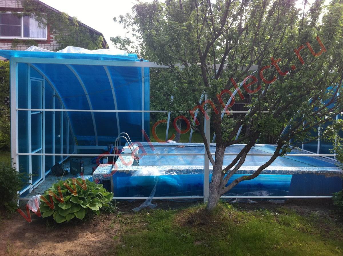 Навес над каркасным бассейном из поликарбоната своими руками 76